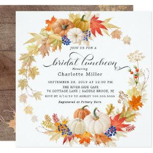Autumn Leaves Pumpkins Bridal Shower Luncheon Invitation starting at 2.41
