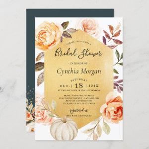 Autumn Luxury Gold Floral Fall Bridal Shower Invitation starting at 2.30