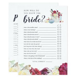Autumn Pumpkin Two-Sided Bridal Shower Game Card starting at 2.51