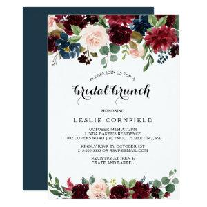 Autumn Rustic Dazzling Burgundy Bridal Brunch Invitation starting at 2.26