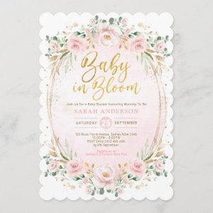 Baby in Bloom Blush Gold Pink Floral Girl Shower Invitation starting at 2.86