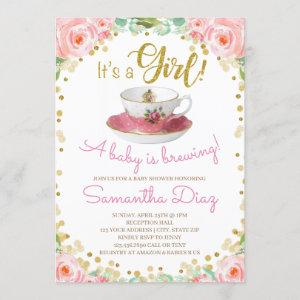 Baby is Brewing Tea Party Baby Shower Girl Pink Invitation starting at 2.55