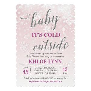 Baby Its Cold Outside Winter Baby Shower Pink Girl Invitation starting at 2.70