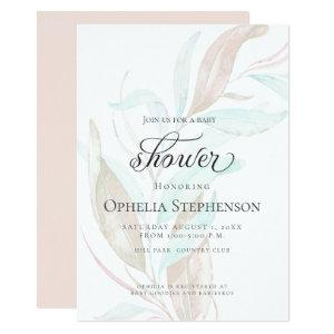 BABY SHOWER | Pastel Watercolor Wispy Foliage Invitation starting at 2.66