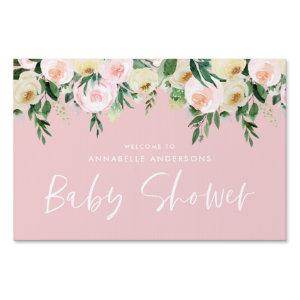 Baby shower watercolor peach pink floral script sign starting at 20.90