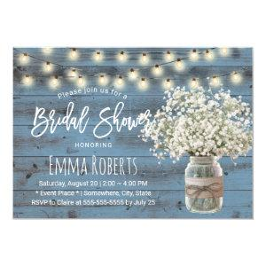 Baby's Breath Jar Dusty Blue Wood Bridal Shower Invitation starting at 2.45