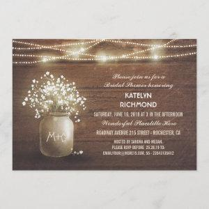 Baby's Breath Mason Jar Lights Bridal Shower Invitation starting at 2.51