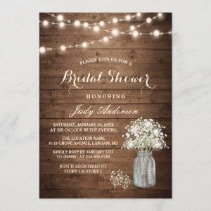 Baby's Breath Mason Jar Rustic Wood Bridal Shower Invitation starting at 2.35