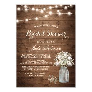 Baby's Breath Mason Jar Rustic Wood Bridal Shower Invitation starting at 2.10