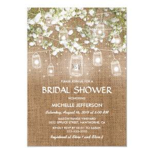 Baby's Breath Rustic Burlap Wedding Bridal Shower Invitation starting at 2.40
