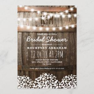 Baby's Breath Rustic Wood Bridal Shower Invitation starting at 2.40