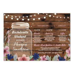 Bachelorette Bridal Shower Itinerary Jar Wood Invitation starting at 2.51