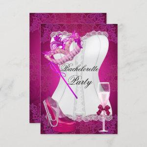 Bachelorette Party Corset Pink Shoes mask Invitation starting at 2.10