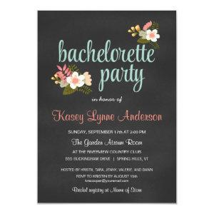 Bachelorette Party Floral Chalkboard Invitations starting at 2.42