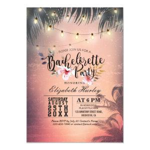 Bachelorette Party Summer Beach Palm Trees Lights Invitation starting at 2.40