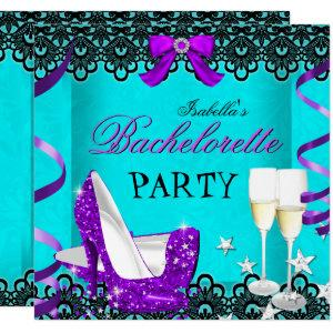 Bachelorette Party Teal Purple High Heel Champagne Invitation starting at 2.40