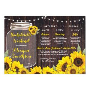 Bachelorette Weekend Itinerary Bridal Sunflower Invitation starting at 2.51