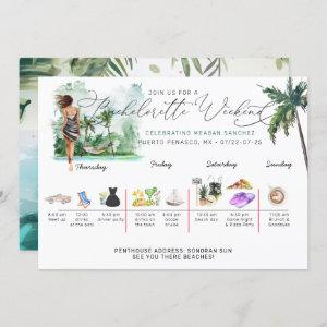 Bachelorette Weekend Itinerary | Tropical Palm Invitation starting at 2.40