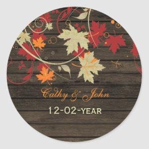 Barn Wood Rustic Fall Leaves Wedding Classic Round Sticker starting at 6.60