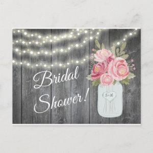 Barnwood with Watercolor Peonies and Garden Lights Invitation Postcard starting at 1.60