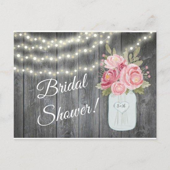 Barnwood with Watercolor Peonies and Garden Lights Invitation Postcard