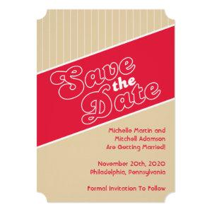 Baseball Inspired Save The Date (Red / Beige) Invitation starting at 2.65