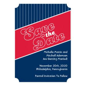 Baseball Inspired Save The Date (Red / Navy Blue) Invitation starting at 2.65