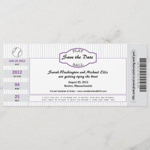 Baseball Ticket Save the Date starting at 3.10
