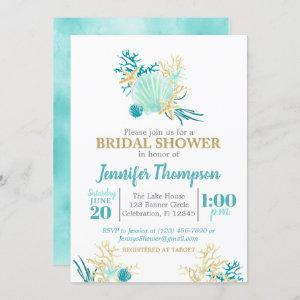 Beach Bridal Shower Teal and Gold Watercolor Invitation starting at 2.55