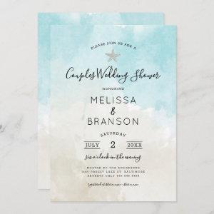 Beach Themed Watercolor Couples wedding shower Invitation starting at 2.51
