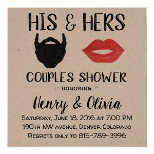 Beard and Lips Couples Wedding Shower invitation starting at 2.95