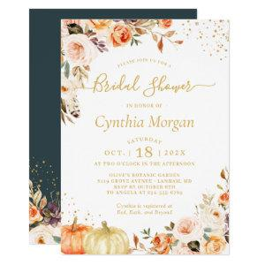 Beautiful Autumn Gold Floral Fall Bridal Shower Invitation starting at 2.10