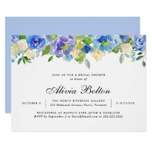 Beautiful Blue Floral Watercolor Bridal Shower Invitation starting at 2.40