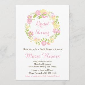 Beautiful Pink Floral Wreath Bridal Shower Invitation starting at 2.66