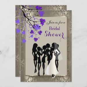 Beautiful Purple Floral & Antique Silver Damask Invitation starting at 2.40
