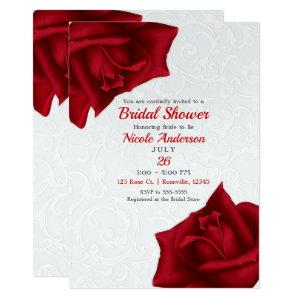Beautiful White Texture Red Roses Bridal Shower Invitation starting at 2.66