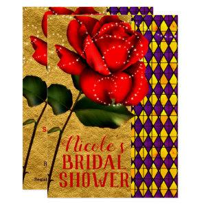 Beauty & The Beast Red Sparkle Rose Bridal Shower Invitation starting at 2.71