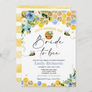Bee Bridal Shower Blue & Gold Floral Bride To Bee Invitation starting at 2.61