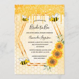 Bee Bridal shower gold glitter drips bride to bee Invitation starting at 2.40