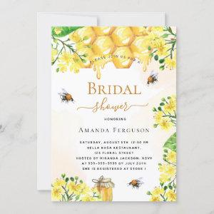 Bee Bridal shower gold yellow florals cute Invitation starting at 2.40
