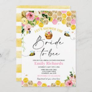 Bee Bridal Shower Pink & Gold Floral Bride To Bee Invitation starting at 2.61