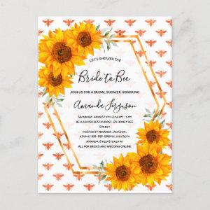 Bee Bridal shower sunflowers rose gold invitation Postcard starting at 1.25