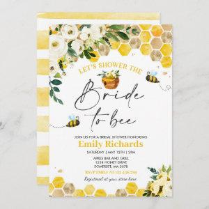 Bee Bridal Shower White & Gold Floral Bride To Bee Invitation starting at 2.61