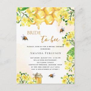 Bee Bridal shower yellow florals cute  Postcard starting at 1.25