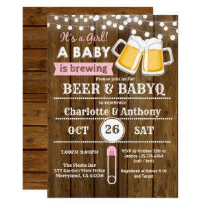 Beer and BabyQ couples baby shower invitation pink starting at 2.40