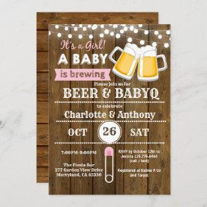 Beer and BabyQ couples baby shower invitation pink starting at 2.25