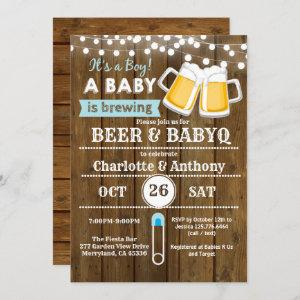 Beer and BabyQ couples baby shower invitation wood starting at 2.25