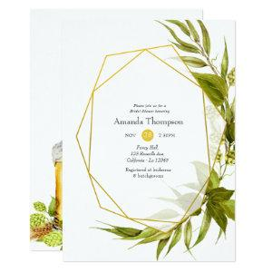 Beer Willow Green and Gold Geometric Bridal Shower Invitation starting at 2.66