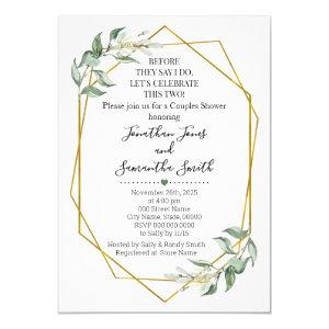 Before they say I do couples shower greenery gold Invitation starting at 2.55