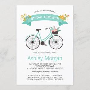Bicycle Bridal Shower Pastel Mint Floral Invitation starting at 2.30